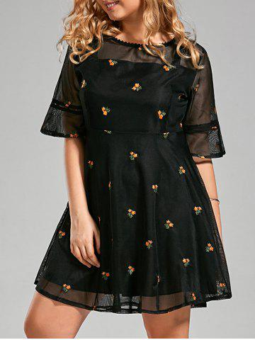 Floral Embroidered Organza Plus Size Flare Dress - Black - 5xl