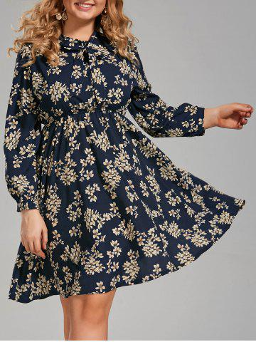 Latest Floral Print Plus Size Long Sleeve Pussy Bow Dress PURPLISH BLUE 5XL