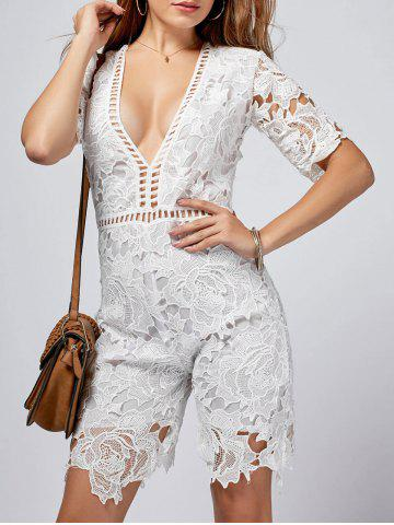 Plunging Neck Cut Out Crochet Romper - White - Xl