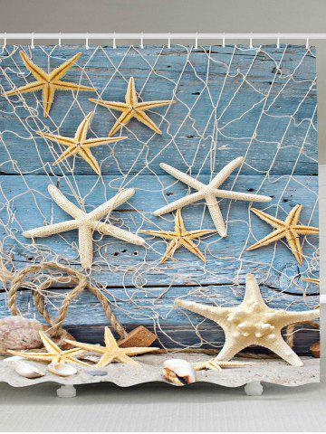 Wood Grain Starfish Fishing Net Nautical Shower Curtain - Light Blue - W65 Inch * L71 Inch