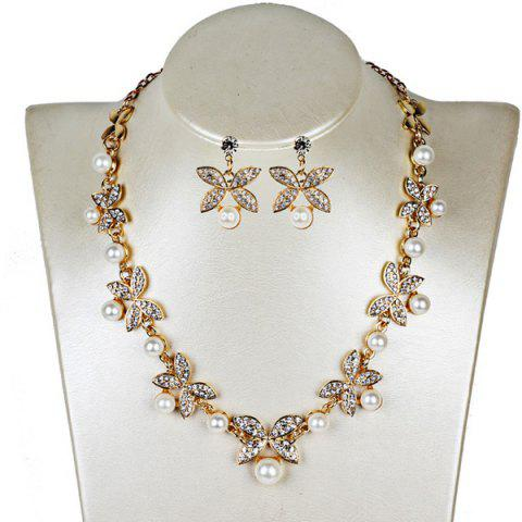 Faux Pearl Butterfly Earring and Necklace Sets - Golden - One-size