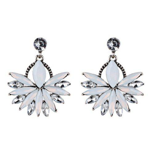 Rhinestone Floral Statement Drop Earrings - White