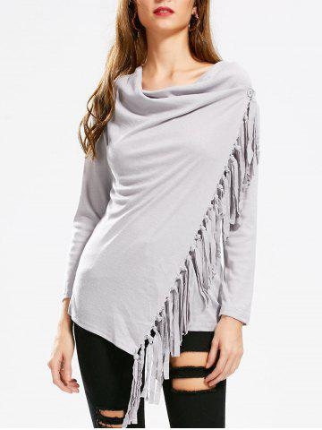 Latest Tassel Asymmetric Long Sleeve Top