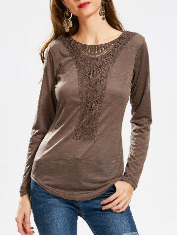 Solid Color Scoop Neck Hollow Out Crochet Spliced T Shirt
