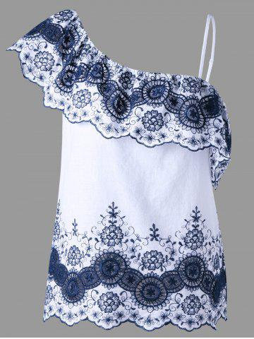 Floral Embroidered Asymmetric Top - Blue And White - M