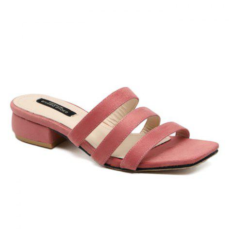 Outfits Square Toe Strappy Slide Sandals - 39 PINK Mobile