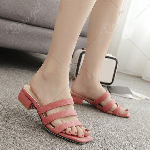 New Square Toe Strappy Slide Sandals - 39 PINK Mobile