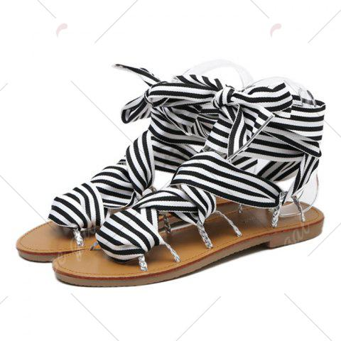New Cross Lace Up Gladiator Sandals - 37 BLACK Mobile