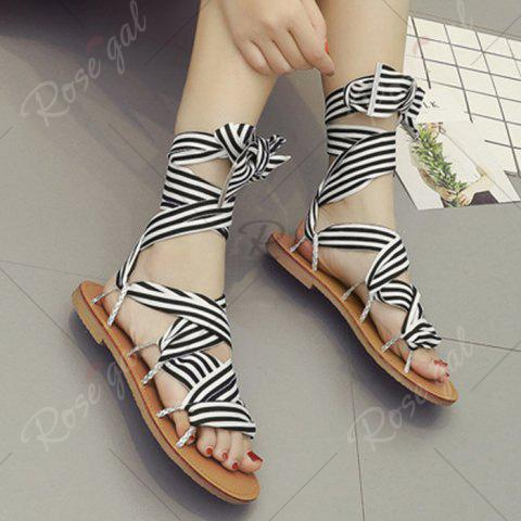 Discount Cross Lace Up Gladiator Sandals - 37 BLACK Mobile