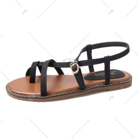 Shops Toe Ring Flat Heel Faux Leather Sandals - 37 BLACK Mobile