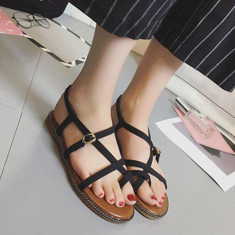 Discount Toe Ring Flat Heel Faux Leather Sandals - 37 BLACK Mobile