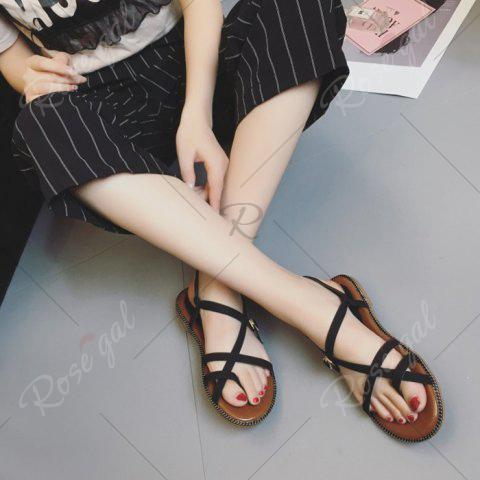Shop Toe Ring Flat Heel Faux Leather Sandals - 37 BLACK Mobile