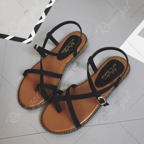 Hot Toe Ring Flat Heel Faux Leather Sandals - 37 BLACK Mobile