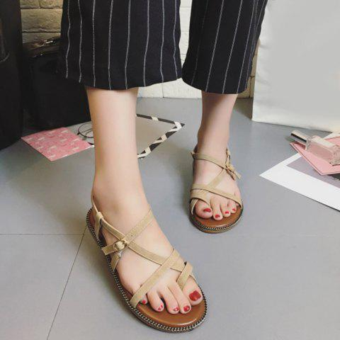 Toe Ring Flat Heel Faux Leather Sandals Abricot 39