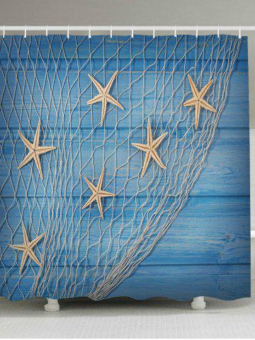 Nautical Fishing Net Starfish Wood Grain Shower Curtain - Light Blue - W79 Inch * L79 Inch