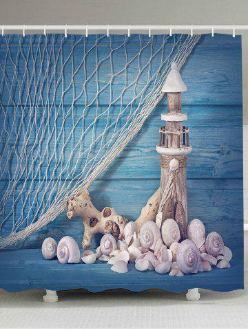 Fishing Net Lighthouse Conch Nautical Shower Curtain - Light Blue - W79 Inch * L79 Inch