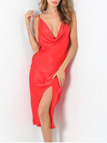 Outfits Low Cut Front Slit Night Club Dress - S RED Mobile