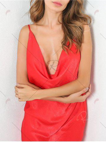 Best Low Cut Front Slit Night Club Dress - S RED Mobile