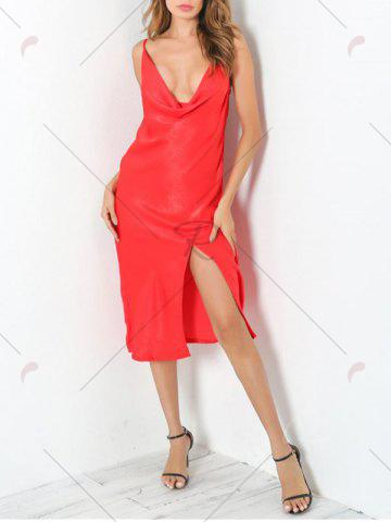 New Low Cut Front Slit Night Club Dress - M RED Mobile