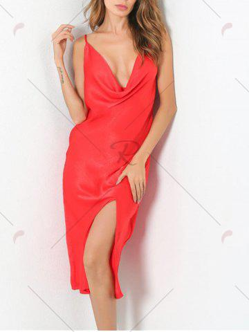 Best Low Cut Front Slit Night Club Dress - M RED Mobile