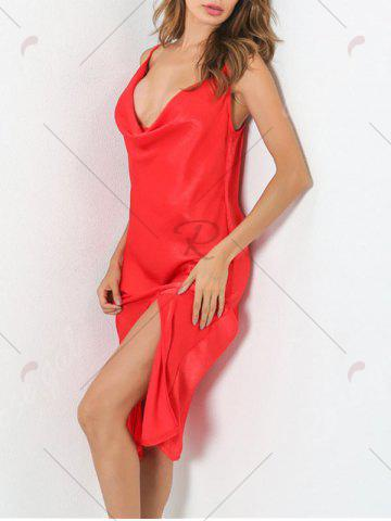 Shop Low Cut Front Slit Night Club Dress - L RED Mobile