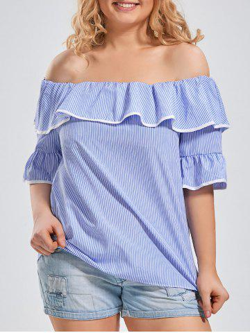 Affordable Bell Sleeve Off The Shoulder Plus Size Top