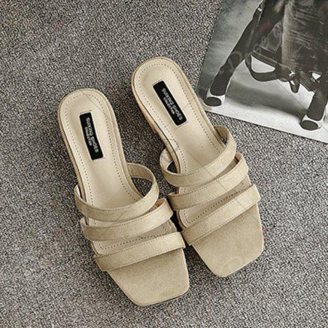 Store Square Toe Strappy Slide Sandals - 39 APRICOT Mobile