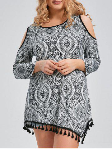 Tribal Tassel Trim Open Shoulder Plus Size Long Sleeve T-shirt - Black - 2xl