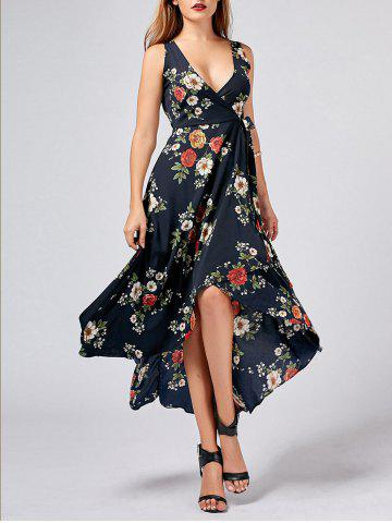 Shop Asymmetric Floral Wrap Long Dress CADETBLUE M