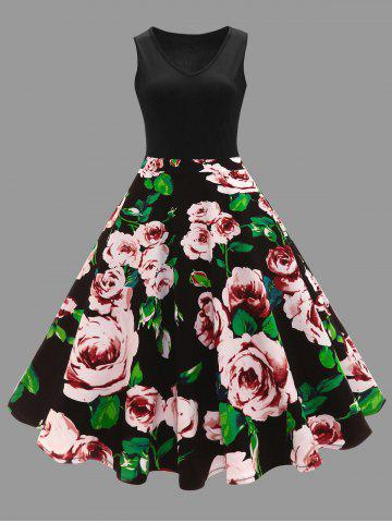 Plus Size Floral Printed Vintage Midi Flare Dress - Black - Xl