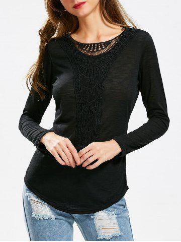 Outfit Casual Scoop Neck Hollow Out Crochet Spliced Solid Color T-Shirt For Women
