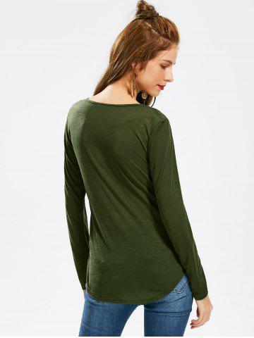 Best Casual Scoop Neck Hollow Out Crochet Spliced Solid Color T-Shirt For Women - L ARMY GREEN Mobile
