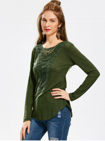 Unique Casual Scoop Neck Hollow Out Crochet Spliced Solid Color T-Shirt For Women - L ARMY GREEN Mobile