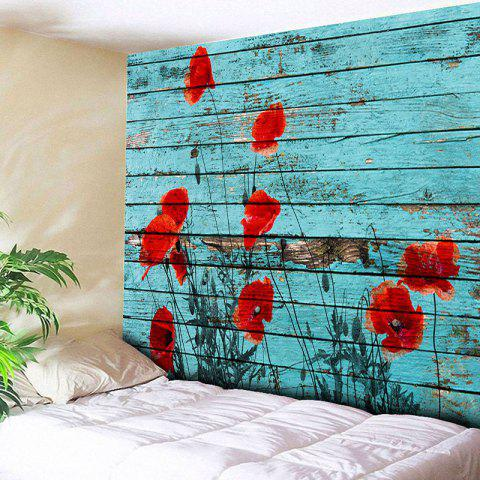 Wall Hanging Wood Grain Flower Tapestry - Blue - W91 Inch * L71 Inch