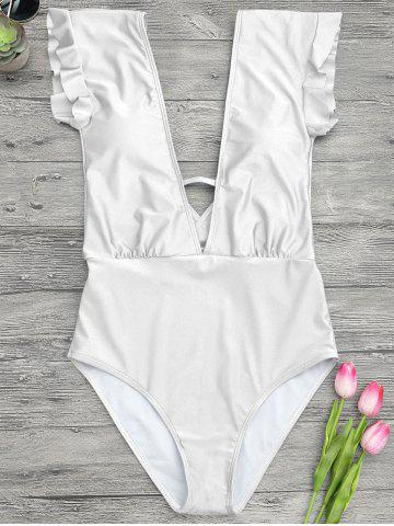 Shops Frilled One Piece Plunge Swimsuit - L WHITE Mobile