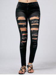 Ripped Hole Five Pockets Skinny Jeans
