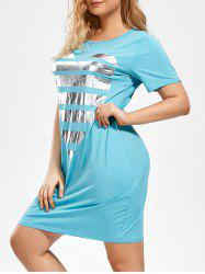 Heart Pattern Plus Size T-shirt Dress