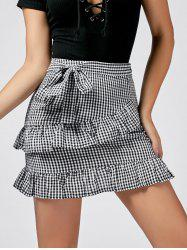 Ruffle Trim Checked Skirt - BLACK WHITE