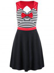Striped Cut Out Bowknot Mini Dress