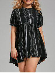 Plus Siz Striped Pleated Button Up Shirt Dress
