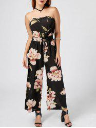 Strapless Drawstring Floral Wide Leg Jumpsuit - BLACK
