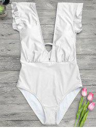 Frilled One Piece Plunge Swimsuit