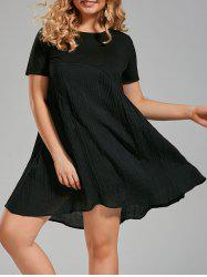 Plus Size Crinkle Panel Smock A Line T-shirt Dress