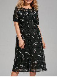 Floral Printed Plus Size Chiffon Midi Dress