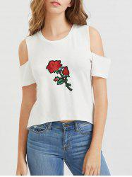 Flower Embroidered Open Shoulder T-Shirt