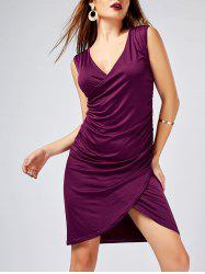 V Neck Sleeveless Bodycon Ruched Dress