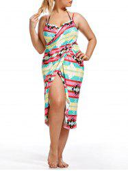 Striped Plus Size Wrap Cover Up Dress