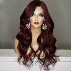 Long Shaggy Side Part Wavy Synthetic Wig - WINE RED
