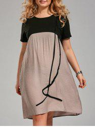 Color Block Knee Length Plus Size Smock Dress -