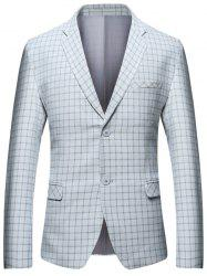 Lapel Check Blazer with Flap Pocket